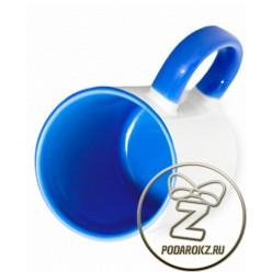Кружка цветная внутри и ручка - синяя [ЦЕНА С ПЕЧАТЬЮ]