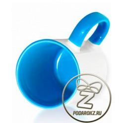 Кружка цветная внутри и ручка - голубая [ЦЕНА С ПЕЧАТЬЮ]