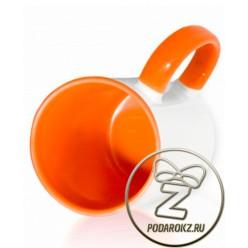 Кружка цветная внутри и ручка - оранжевая [ЦЕНА С ПЕЧАТЬЮ]