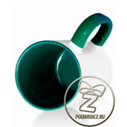 Кружка цветная внутри и ручка - зеленая [ЦЕНА С ПЕЧАТЬЮ]
