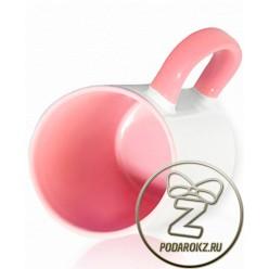Кружка цветная внутри и ручка - розовая [ЦЕНА С ПЕЧАТЬЮ]