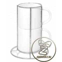 Кружки кофейные набор из двух штук в стойке [ЦЕНА С ПЕЧАТЬЮ]